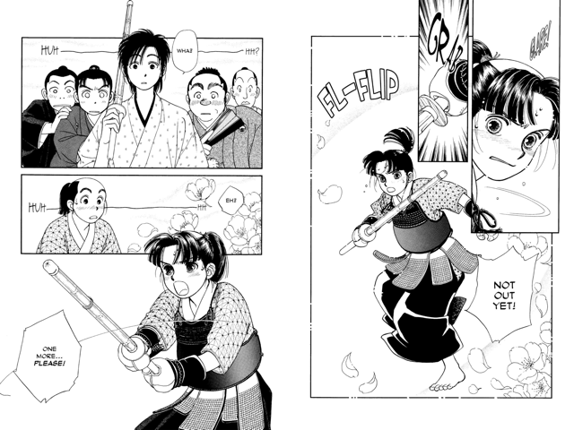 """Manga pages (2): A girl in hakama and armor grips her bamboo sword and says """"Not out yet!"""" Several men in hakama look out, dazed. The girl readies her sword: """"One more...please!!"""""""