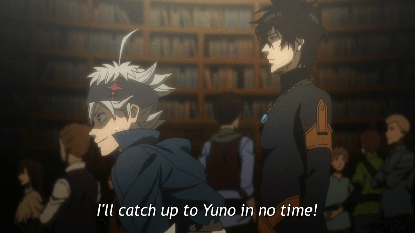 "A white-haired boy wearing a black headband leans forward while a dark-haired boy in a skintight black shirt stands straight just behind him. There are people and rows of books in the background. Subtitles: ""I'll catch up to Yuno in no time!"""