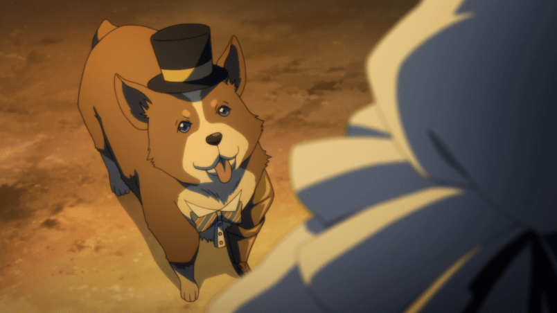 A corgi wearing a top hat and bow tie. One of its legs is mechanical. It is adorable.