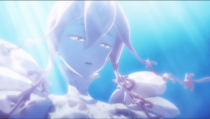 A woman with long pink hair and pink eyes. her jellyfish-like hair tendrils float in the water; she is lit from above and behind