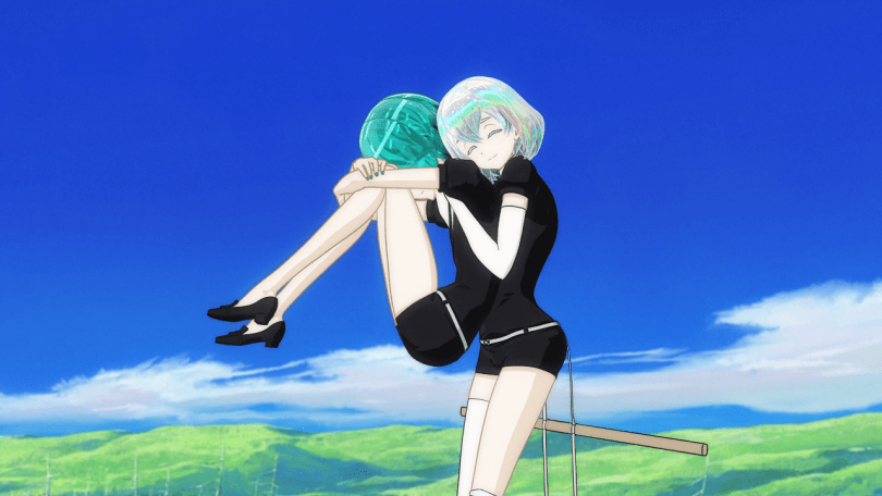 Diamond hugs Phos, who has their head buried in their knees