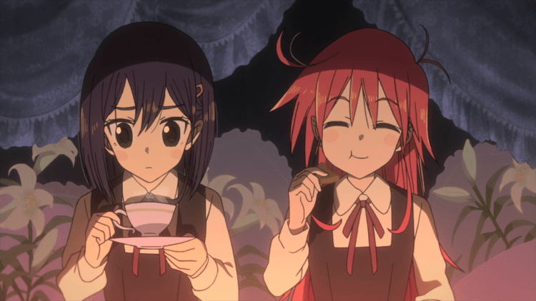Cocona and Papika drinking tea, lit by candles and surrounded by lilies. Papika is happily hypnotised while Cocona looks unsure