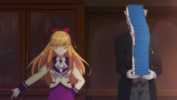 A satisfied looking blonde girl with her arm swept out, standing next to a butler holding a mountainous stack of blu-rays