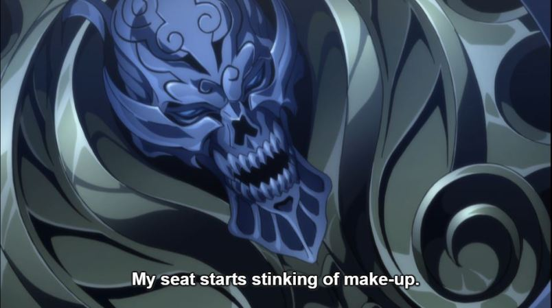 A close up of a talking skull on the motorcycle. subtitle: My seat starts stinking of make-up.
