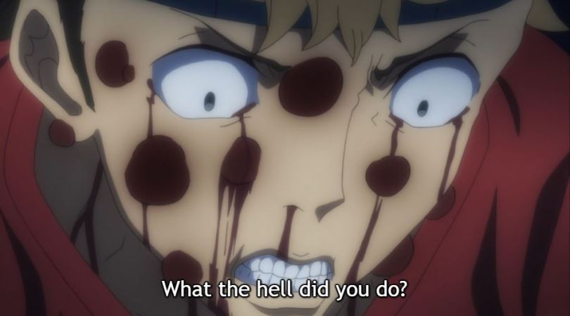 a close-up of a facewith blood seeping out. subtitle: what the hell did you do?