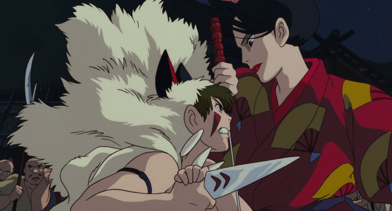San, wielding a knife and wearing a wolf pelt, faces off against the taller, kimono-clad Lady Eboshi