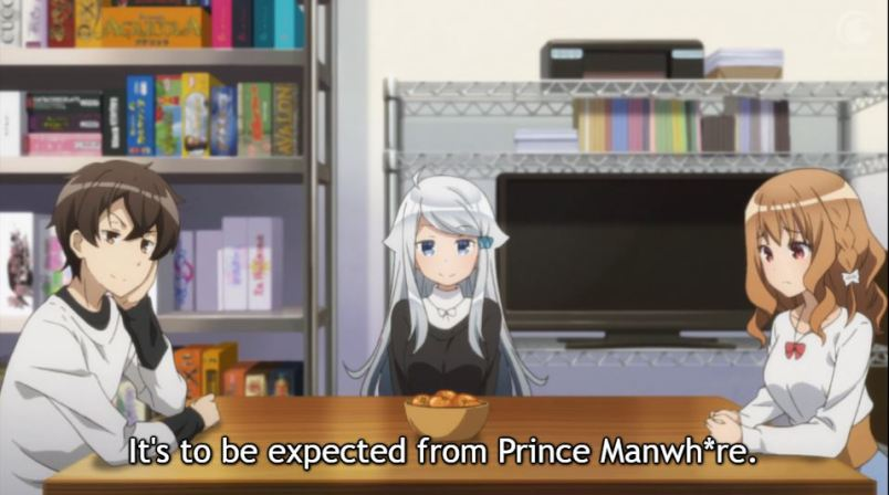 Two girls and a boy stare toward the camera, sitting at a low table. subtitle: it's to be expected from Prince Manwh*re
