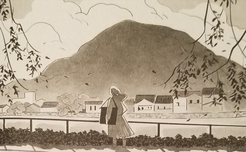 A gray-scale illustration of a woman standing at a railing, her back to the viewer, looking out over a mountain and small town