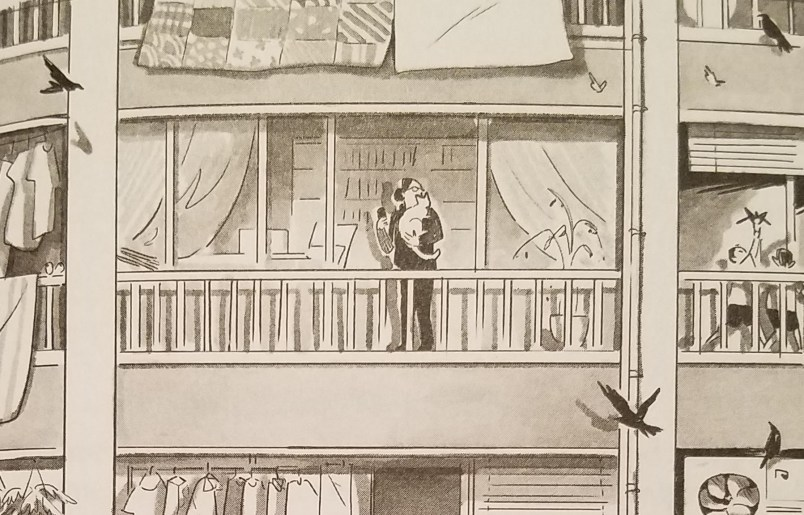 A gray-scale illustration of a woman wearing glasses, holding a cat, and standing on a balcony of an apartment complex. The other apartment balconies crowd the frame around her, depicting scenes of daily life.