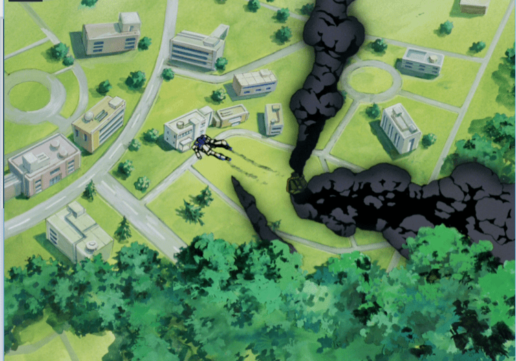 An overheard shot of a field dotted with buildings; it looks somewhat like a school campus. There are large clouds of black smoke rising to the sky. In the middle of the scene, against one building, is what looks like a Gundam robot