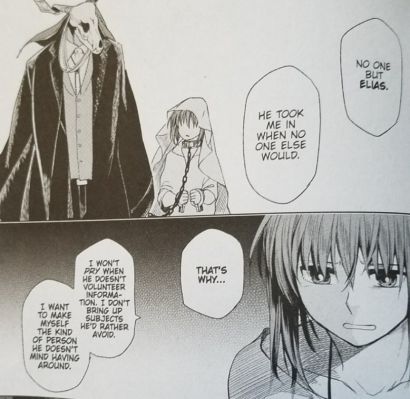 Two manga panels. In the top one, a girl wearing a blanket on her head and a chain around her neck looks warily at a masculine form in a suit with a horned skull for a head. In the bottom is a close-up of the same girl, no longer with a collar around her neck, looking upset. The girl says