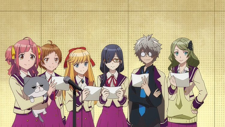 six high school students holding scripts and standing in front of a microphone in a recording studio
