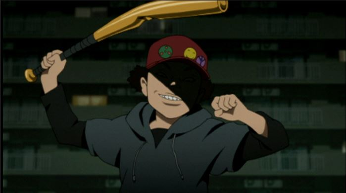 A midshot of a young boy wearing a hat and raising a bent baseball bat over his head. he's grinning, but his eyes are shadowed