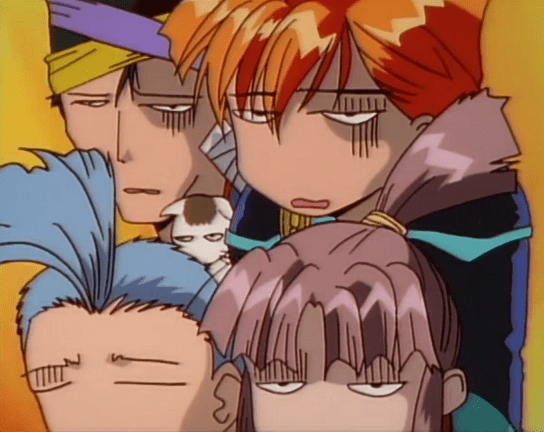 A close up of four people and a cat looking exhausted and annoyed. The people are a man wearing two headbands around his head, a young man with fluffy hair and a jacket, a man with flyaway bangs, and a boy with a tall ponytail