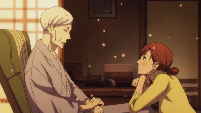 Konatsu sits with her elbows on an older Yakumo's knees, looking hopeful