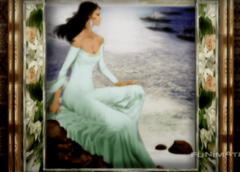 Am 18th century style painting of a woman in a low-cut dress sitting on a rock, staring out at the sea