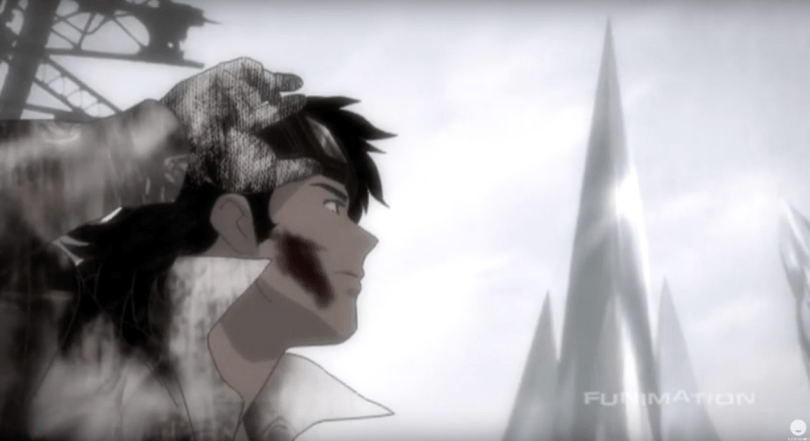 A man with a shaggy haircut in the forefront staring at an ominous tower in the distance