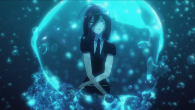 Cinnabar's image, their arms crossed around themself, reflected in a bubble underwater
