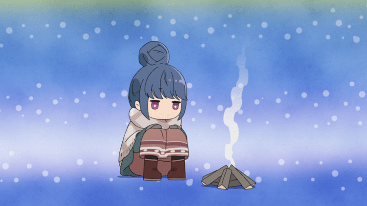 A chibi girl with her hair bundled atop her head, wearing a winter coat, sits in front of campfire kindling that is smoking slightly.