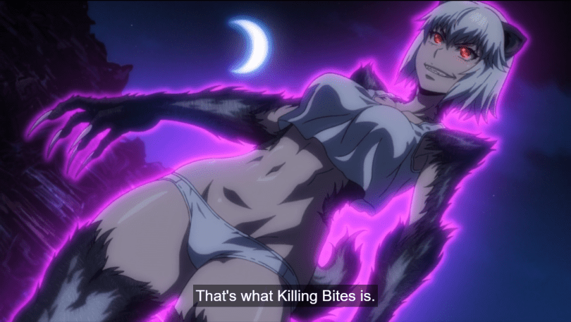 Hitomi surrounded by a purple glow with ears and a tail. caption: That's what Killing Bites is