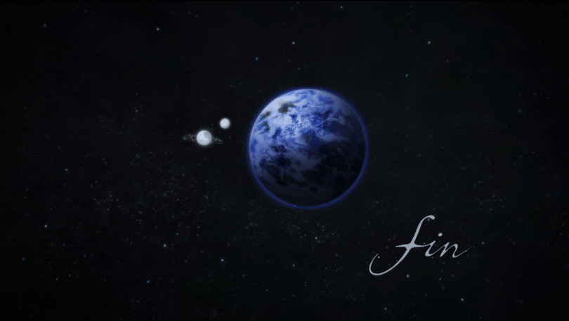 """A shot of Earth with two moons orbiting it. """"Fin"""" is written in the lower righthand corner"""