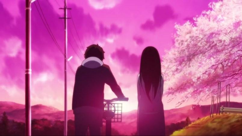 "Oreki and Eru walking down the road into a ""rose-tinted"" sunset"