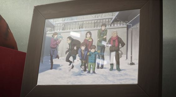 A photo of Juri's family posing in the yard around a snowman