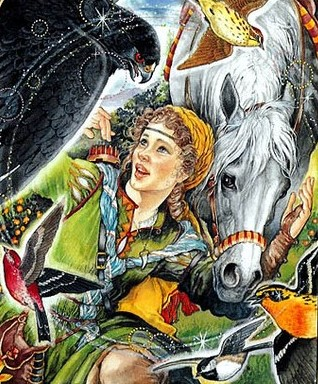 A teen girl in a medieval European-style tunic is surrounded by a horse nuzzling one hand, a hawk swooping in from the other side, and two smaller birds in the corners of the frame. She looks excited.