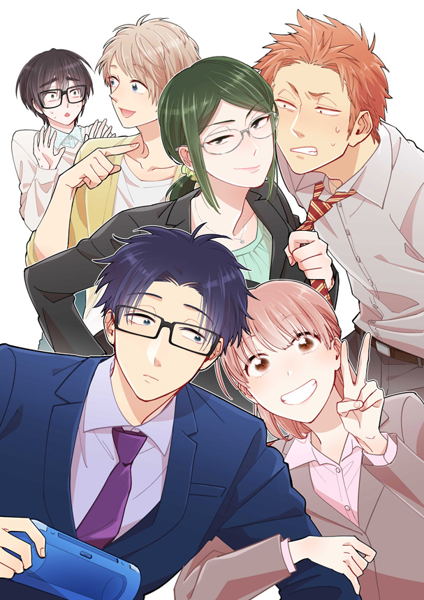 the cover of the upcoming anime WotaKoi, featuring three sets of male/female couples and centering confident looking professional women