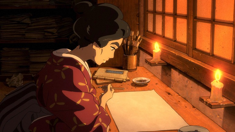 A young woman in traditional Japanese dress and hair style sits at a table, pen in hand, looking at a blank piece of paper. Her desk is lit only by two small candles.