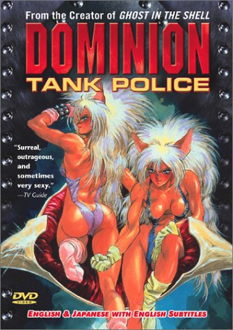 The cover of the Dominion Tank Police DVD, which has two almost naked catgirls on it