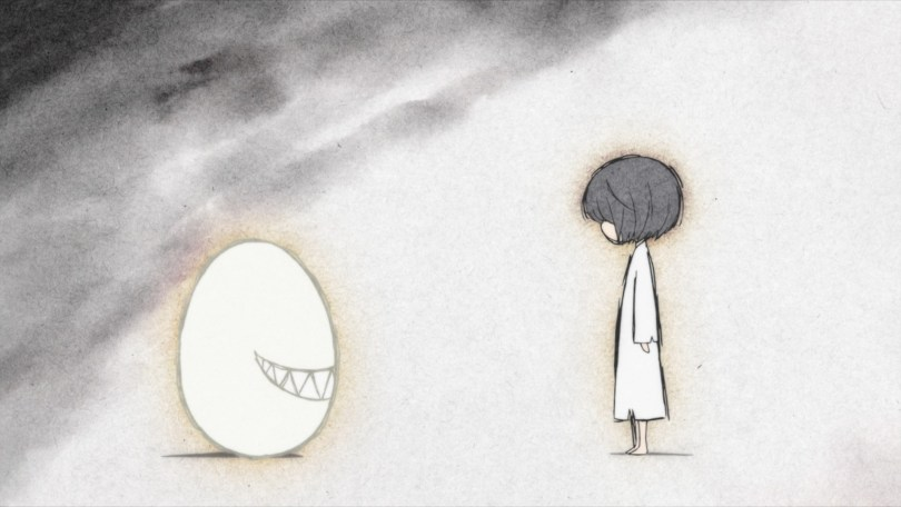 A gray-scale image of a child in a white nightgown standing opposite an egg with smirking, jagged teeth.