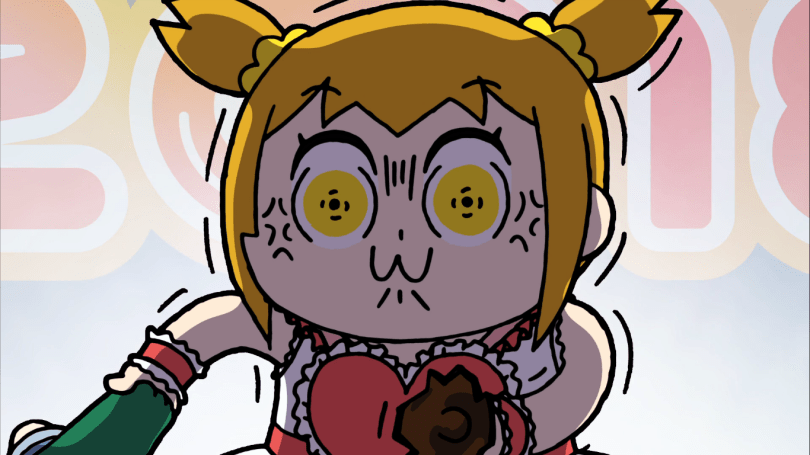 A cartoon girl with pigtails making an exaggerated face of rage. She appears to be holding a broken bottle in one hand and the collar of somebody's shirt in the other.