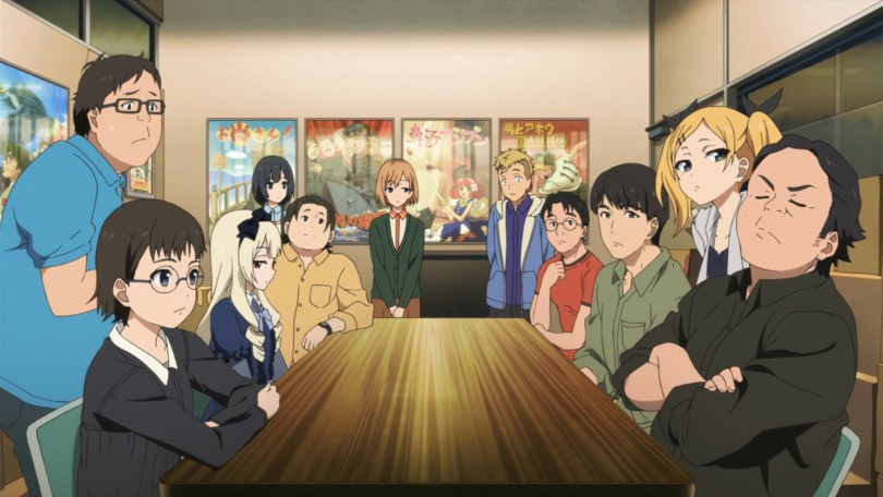 A shot of a long table, surrounded by men and women. It is the cast of SHIROBAKO.
