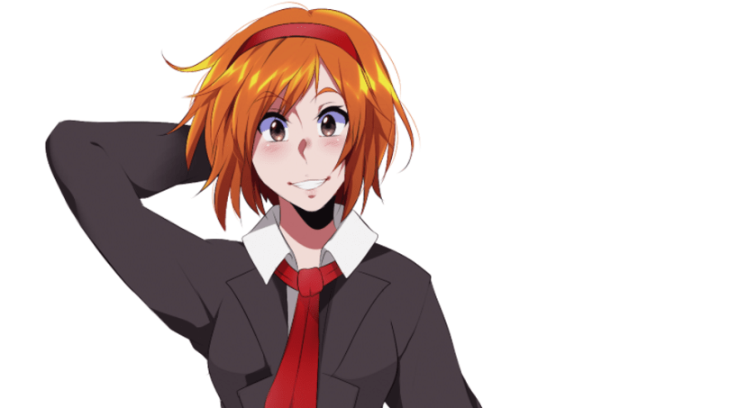 An anime girl with chin-length orange hair wearing a red tie and blazer.