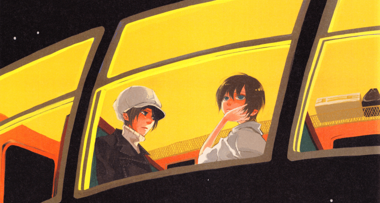 The leads of Nabari no Ou on a train