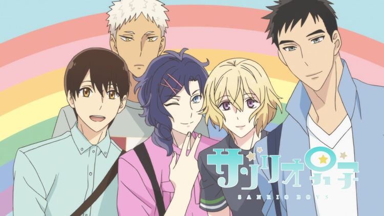 The main cast of Sanrio Boys in front of a rainbow