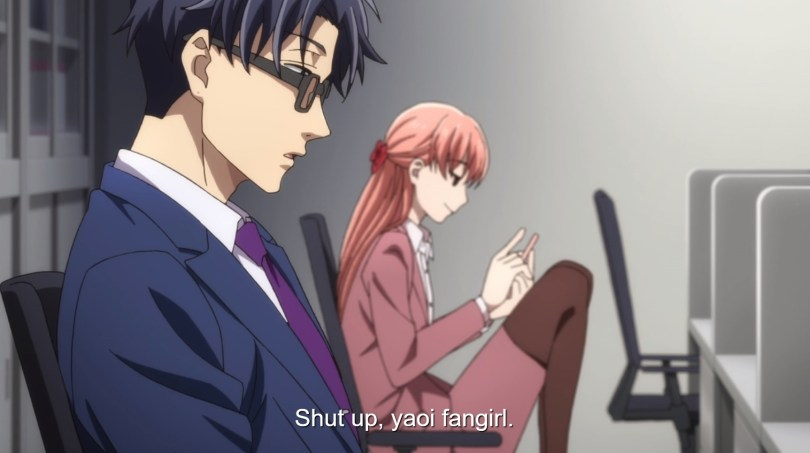 "The same shot as the one above, but in this one the man is saying ""Shut up, yaoi fangirl."""
