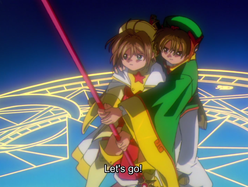 Xiaoling and Sakura from Cardcaptor Sakura. caption: let's go!