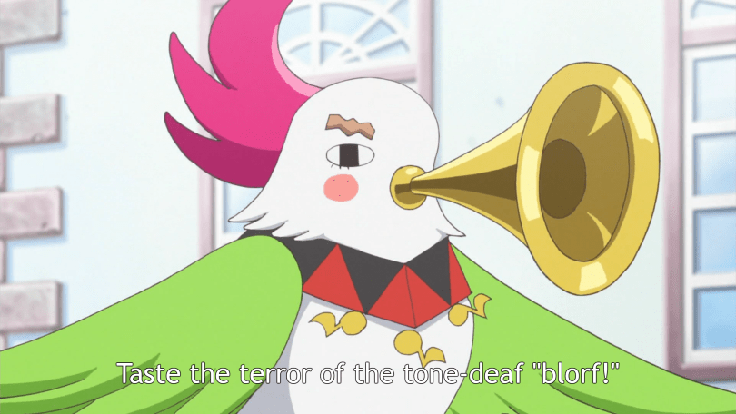 """A monster resembling a cockatiel with a horn for a beak says """"Taste the terror of the tone-deaf 'Blorf!'"""""""