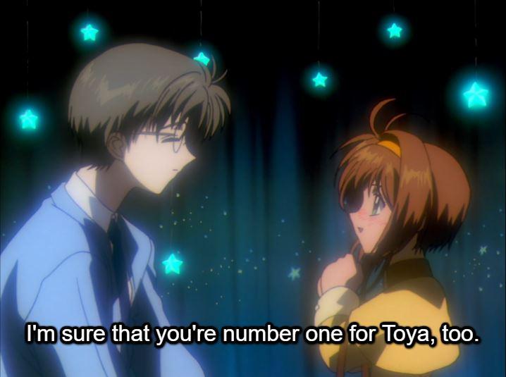 Sakura reassuring Yukito. caption: I'm sure that you're number one for Toya, too