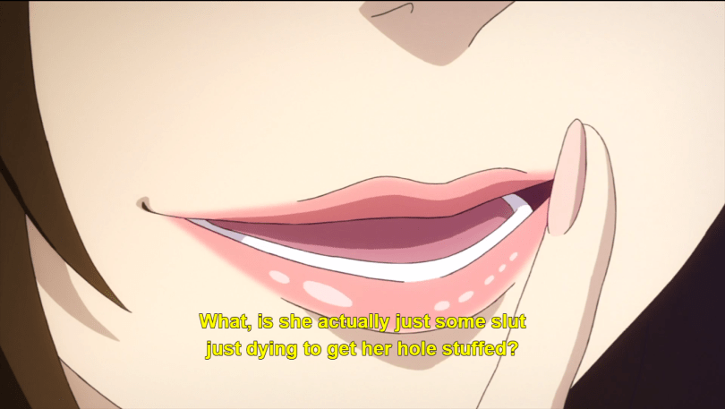 A close-up of Lacie's lips. caption: what, is she actually just some slut just dying to get her hole stuffed?