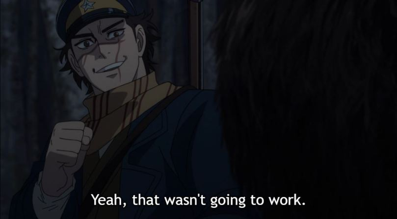 Sugimoto after punching the Wakamuy. caption: Yeah, that wasn't going to work