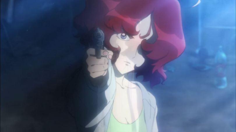 Close up of Ami pointing a gun