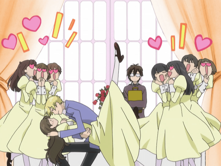 A blonde teen boy (Tamaki) dips a teen girl while a bunch of other teen girls squeal around them, hearts bursting around their heads. In the background, an androgynous figure with glasses and frumpy clothing stands, expressionless