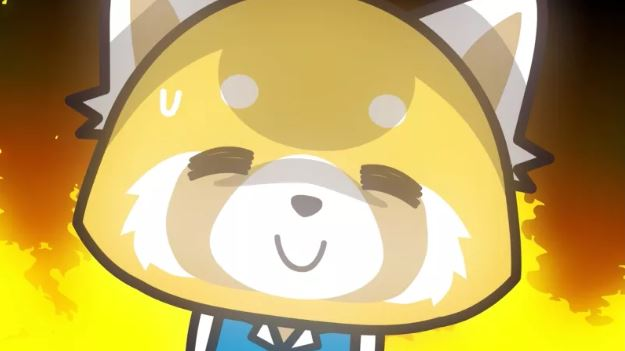 Aggretsuko smiling against a fiery background