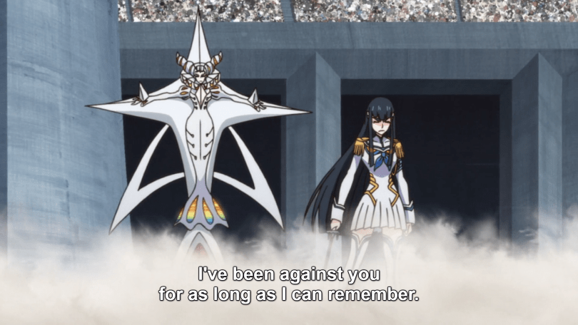 Satsuki and her mother Ragyo. caption: I've been against you for as long as I can remember
