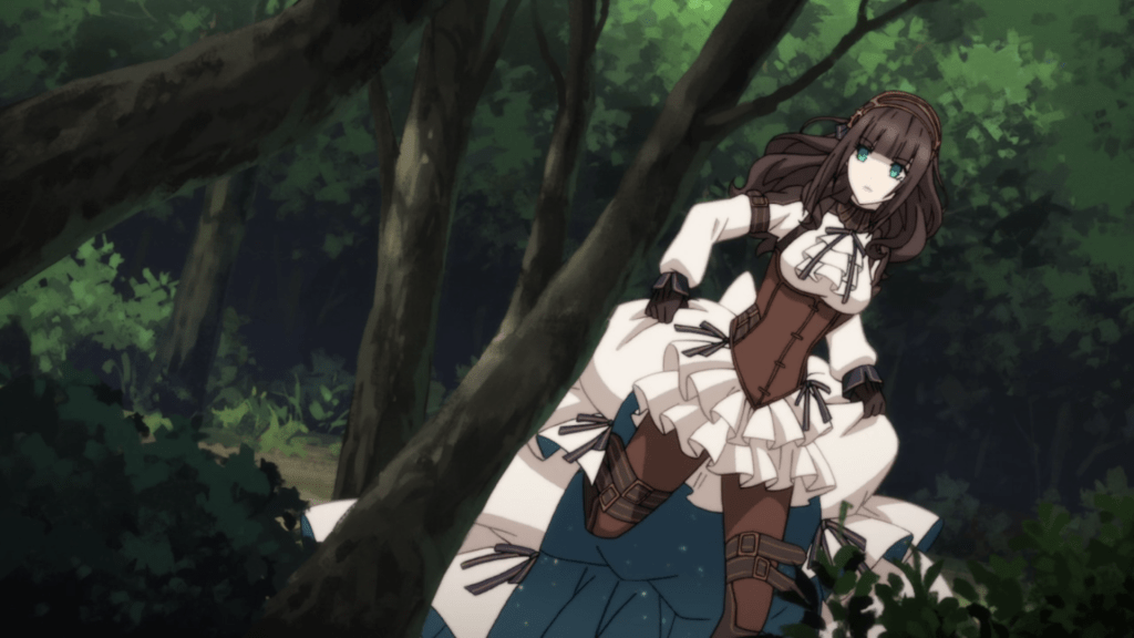 Cardia hikes up her long skirts and runs through a forest, looking determined.