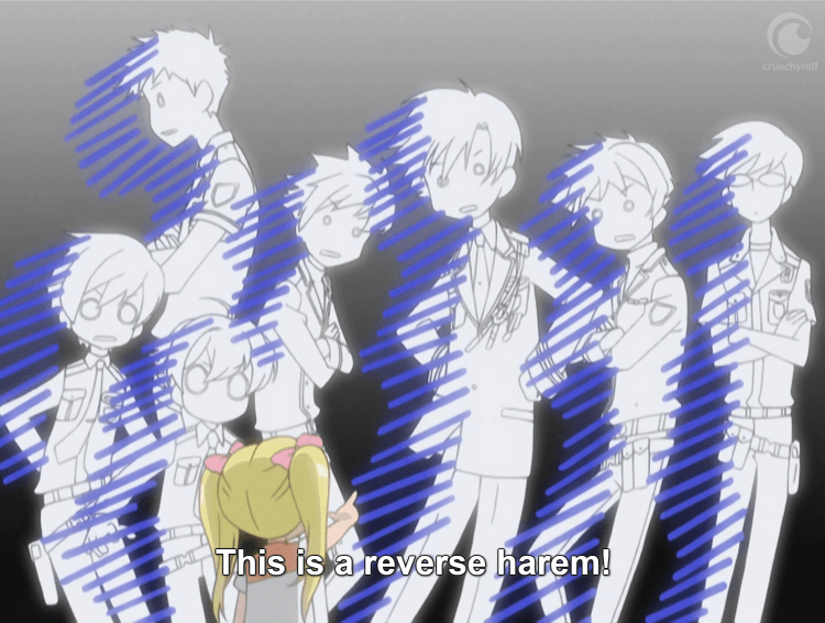 "A group of teens (the Host Club) stand frozen, drained of color and looking shocked. A little blonde girl points at them in the foreground. The subtitles read: ""This is a reverse harem!"""