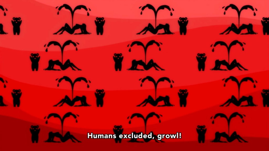 "Black silhouettes on a red and pink background, depicting a repeating pattern of bears attacking humans. Subtitle reads: ""Humans excluded, growl!"""